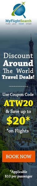 Plan your trip around the world with MyFlightSearch & Save up to $20.00** off our fee with promo code – ATW20. Book Now!