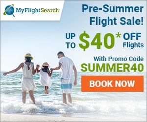 Exclusive Pre Summer Flight Sale on MyFlightSearch. Save up to $40 with promo code – SUMMER40