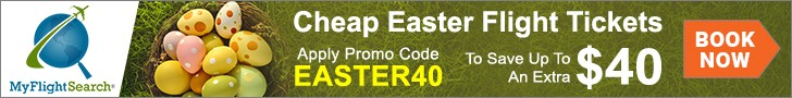 Grab discounted Easter flight deals with MyFlightSearch. Save up to $40.00** with promo code – EASTER40