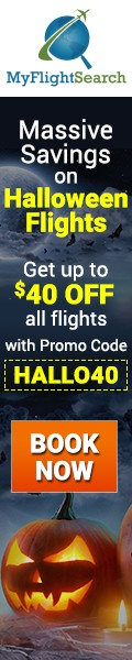 Big Savings on Halloween Flight Tickets on MyFlightSearch. Book Now & Save  up to $40.00** with promo code – HALLO40.