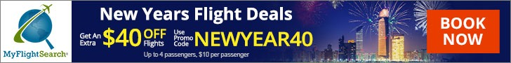 MyFlightSearch Exclusive New Year travel deals. Use Promo Code NEWYEAR40 to get Up to $40 Off. Valid 11/21 - 01/02