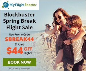 Cheap Spring Break Flight Reservation on MyFlightSearch. Save up to $40.00** with promo code –SBREAK40